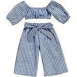 549070f8c14b 2pcs Toddler Girls Stripe Off-Shouler Tube T-Shirt Tops + Striped Bowknot  Pants