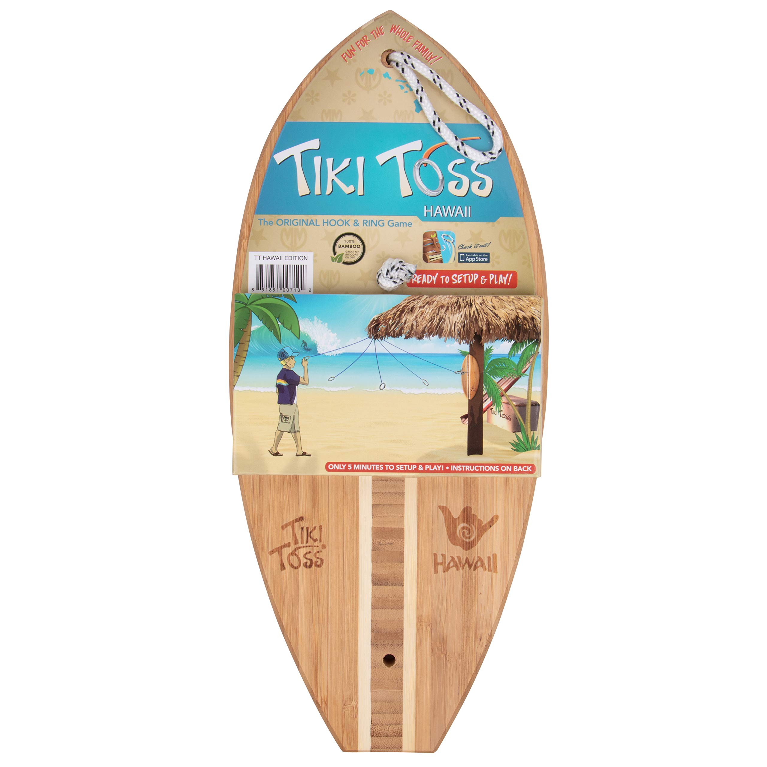 Tiki Toss Hook and Ring Toss Game - 100% Bamboo Only 5 Minutes to Setup - All Parts Included (Hawaiian Edition) Assorted by Tiki Toss (Image #2)