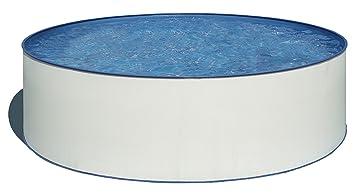 Gre KITWPR302 Lanzarote - Piscina Elevada Redonda, Aspecto Acero Blanco, 300 x 90 cm