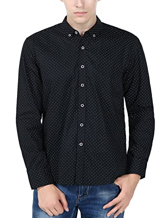 XI PENG Men's Casual Dress Cotton Polka Dotted Fitted Button Down ...
