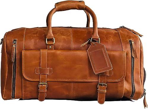 24 Large leather Travel Bag Duffel bag Gym'sports flight cabin bag Leather Holdall Overnight Weekend Large luggage bag LIGHT BROWN