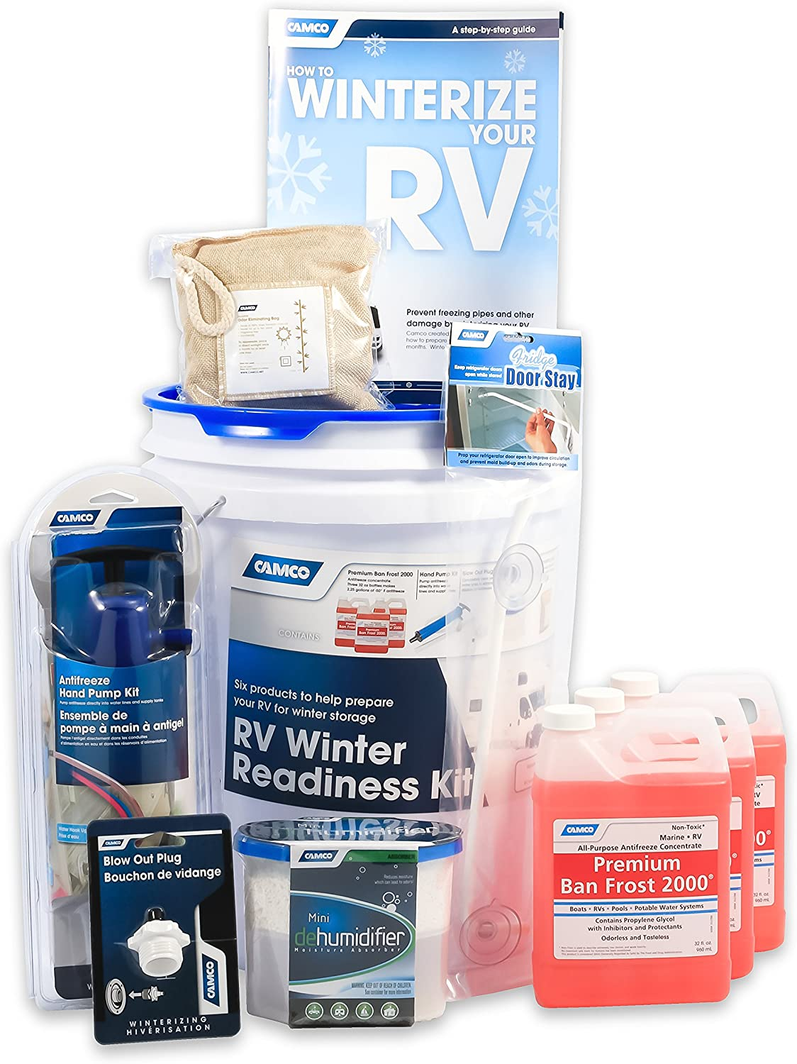 Amazon Com Camco 36190 Rv Winter Readiness Kit Includes Antifreeze Concentrate And Hand Pump Blow Out Plug Dehumidifier And More Comes With Bonus Winterizing Guide Automotive