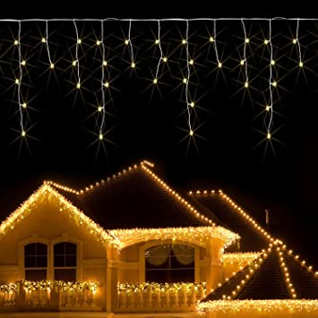 JnDee™ Safe Voltage Fully Weatherproof Icicle Christmas Fairy Lights  Warm White 400 LED 10M Wide - JnDee™ Safe Voltage Fully Weatherproof Icicle Christmas Fairy Lights