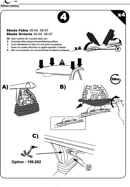 1999-2007 Aurilis Dachtr/äger Original kompatibel mit Skoda Fabia I 5 T/ürer