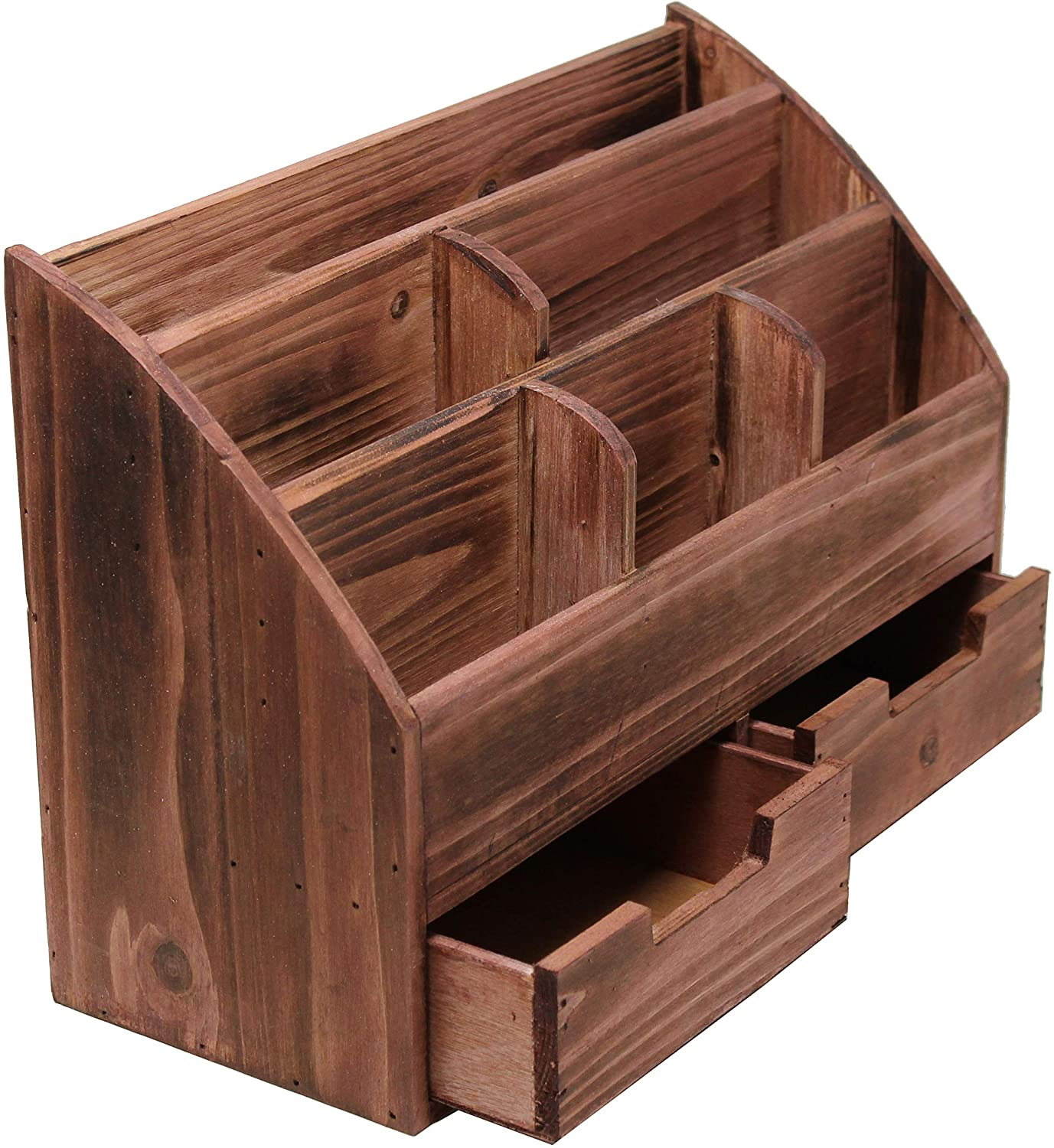Executive Office Solutions Vintage Rustic Wooden Desk Organizer