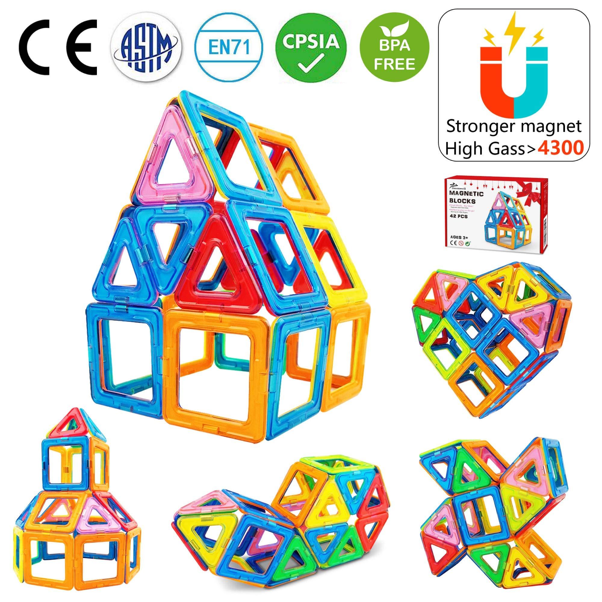 Jasonwell Magnetic Building Blocks 42pcs - Magnet Blocks Set Kids Magnetic Toys Preschool Creative Educational Construction Stacking kit Building Magnetic Tiles for Toddlers Children