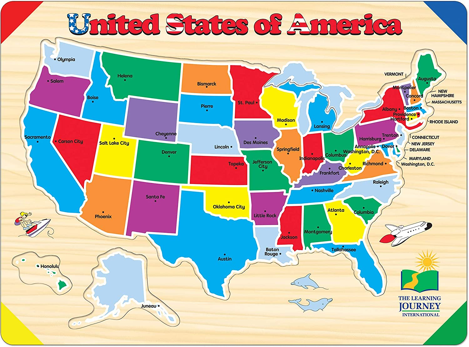 The Learning Journey Lift & Learn Puzzle - USA Map - Preschool Toys & Gifts for Boys & Girls Ages 3 and Up: Toys & Games