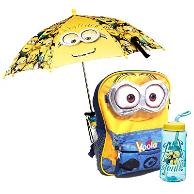 "best 12""Licensed Despicable Me Minion School Backpack 3D eye W/ Umbrella ,Bottle"