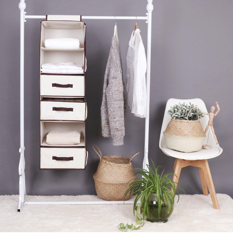 Amazon.com: StorageWorks Hanging Closet Organizer, Foldable Closet Hanging  Shelves With 2 Drawers U0026 1 Underwear Drawer, Polyester Canvas, Natural, 6  Shelf, ...
