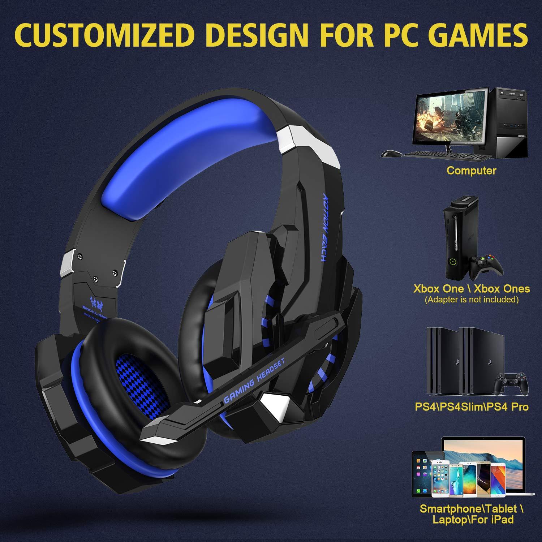 Cuffie Gaming Auricolare Gaming Headset per PC con microfono LED Riduzione  del rumore di gioco e controllo del volume per PS4 bbe7f8beba5c