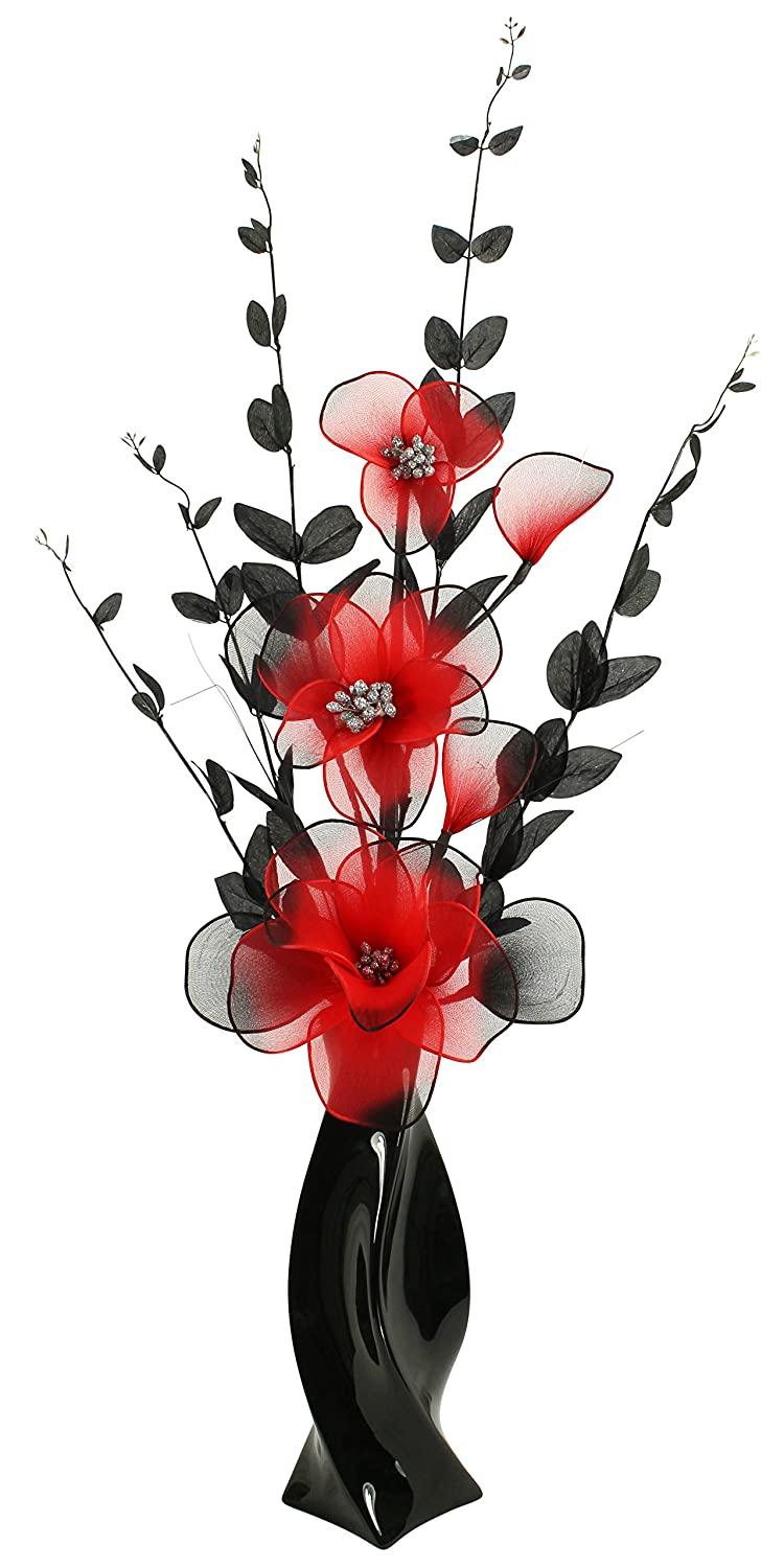 Black Vase with Red and Black Artificial Flowers, Ornaments for Living Room, Window Sill, Home Accessories, 80cm Flourish 722968