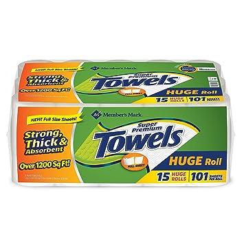 Miembros de la marca gran toalla de papel (101 hojas por rollo, 15 rollos
