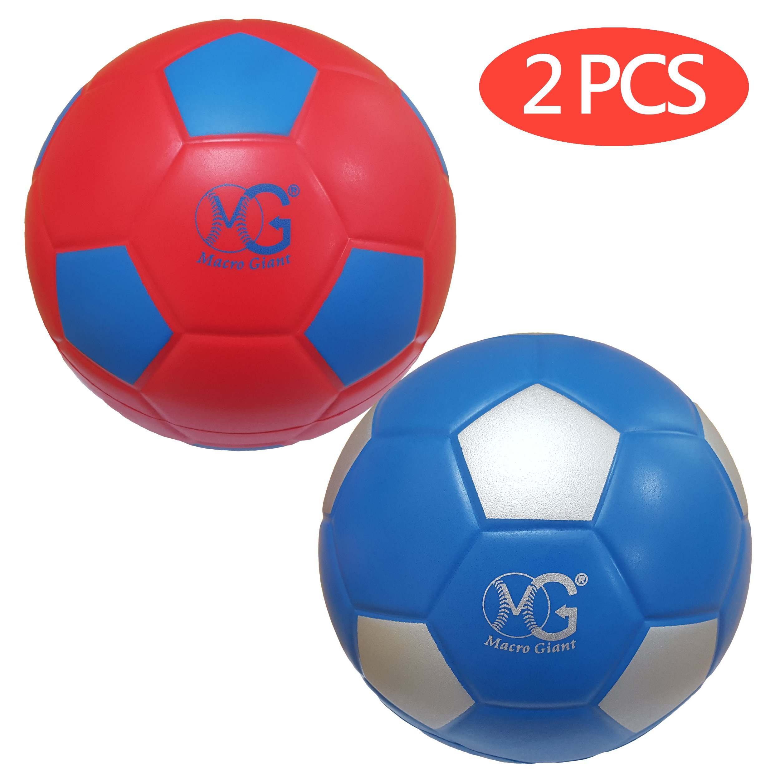 Macro Giant 7.5 Inch (Diameter) Soft Foam Soccer Ball, Set of 2, Red & Blue, Training Practice, Beginner, Kickball