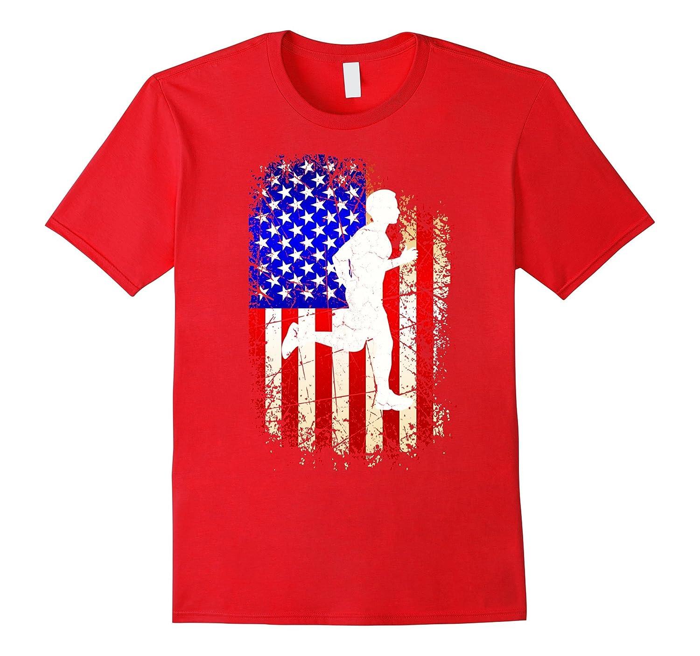 4th of July Running Shirt Patriotic American Flag T-Shirt-PL