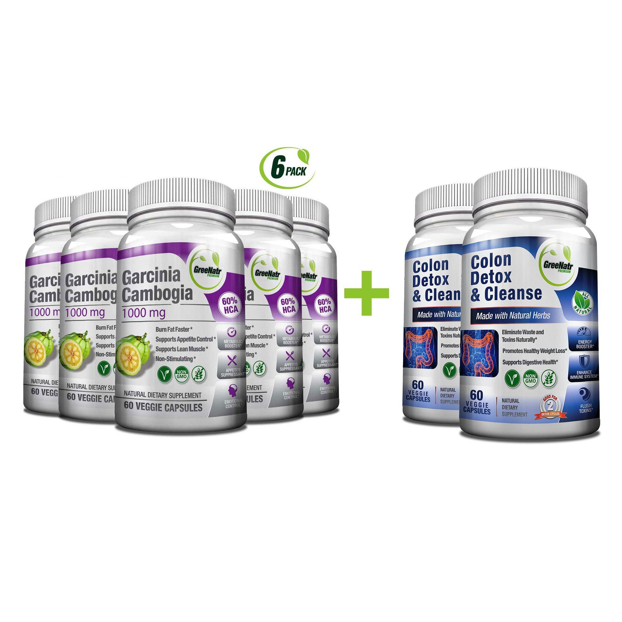 Colon Detox & Cleanse + Pure Garcinia Cambogia Extract- Weight Loss Bundle/480 Veggie Capsules-Gluten Free-Non GMO