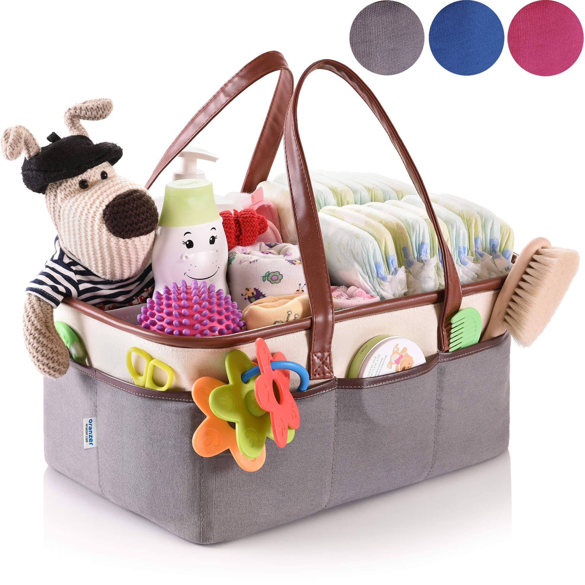 Baby Diaper Caddy Organizer - Nursery Essentials Storage - Portable Bag for Car by Oranzer