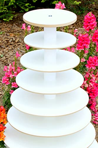 Amazon.com: Wood Cupcake Stand 7 Tier White Melamine Donut Stand ...
