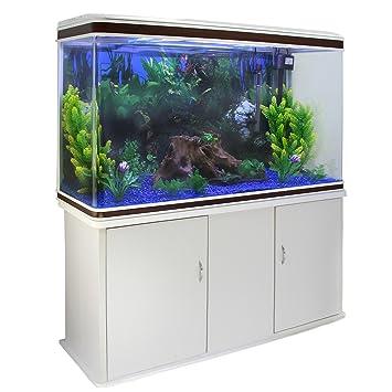MonsterShop - Acuario 300 Litros con Mueble Blanco y Kit con Plantas y Grava Azul 143cm