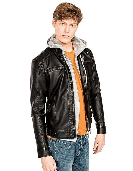 vestibilità classica f859a 60e02 Clayton Giubbotto effetto pelle: Amazon.it: Abbigliamento