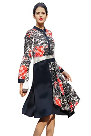 22219f5d7d0 Image Unavailable. Image not available for. Color: VOA Women's Navy Blue  Splicing Red Floral Long Sleeve Silk Midi Shirt Dress A7501