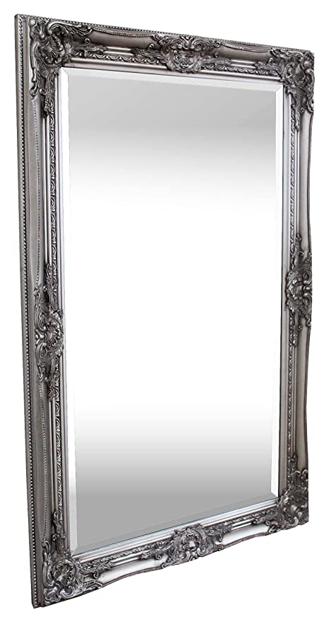 Grand Miroir Oval Style Baroque Shabby Chic 50x70 Cm Argent