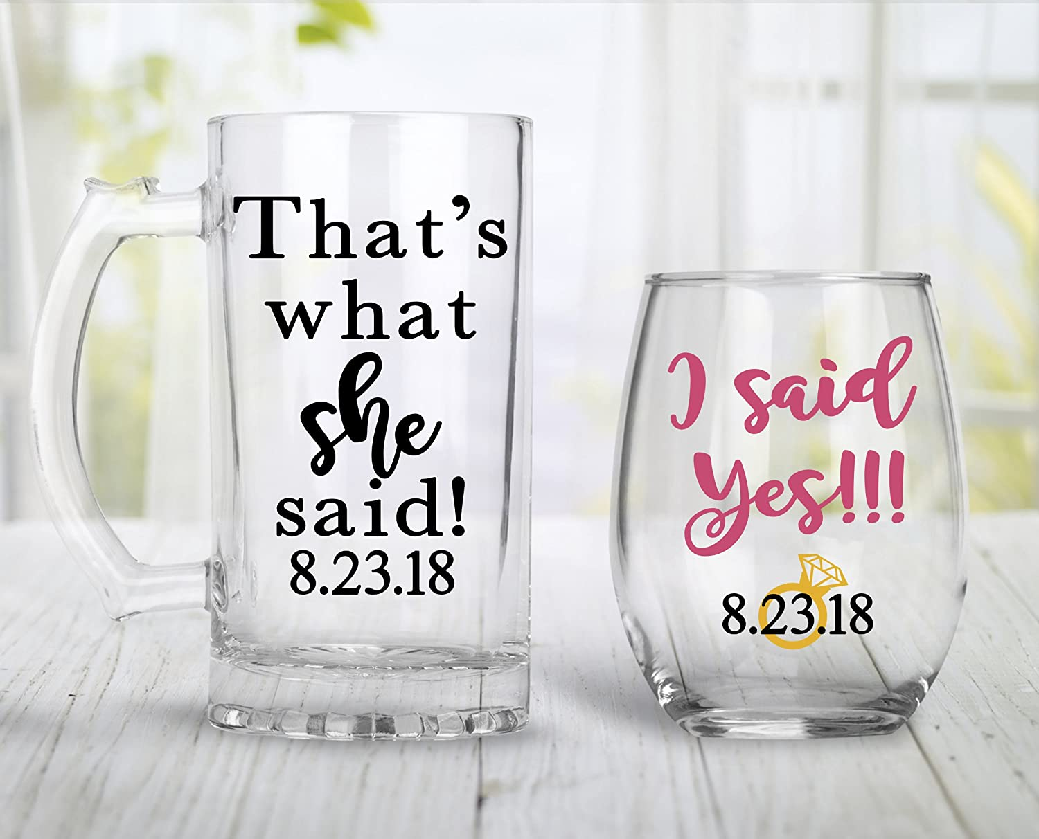 Engagement Gift For Couples, Engagement Present, Stemless Wine Glass, Beer Mug, Fiance Gift - Choose your colors