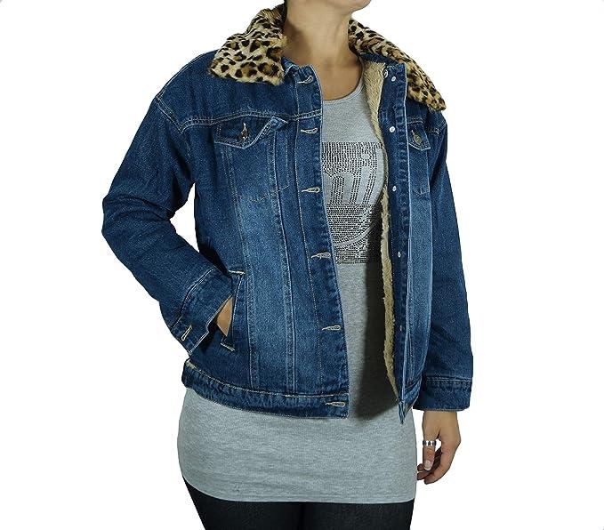size 40 32868 0605b takestop® Giacca Jeans Donna PELLICCIOTTO Taglia Comoda ...