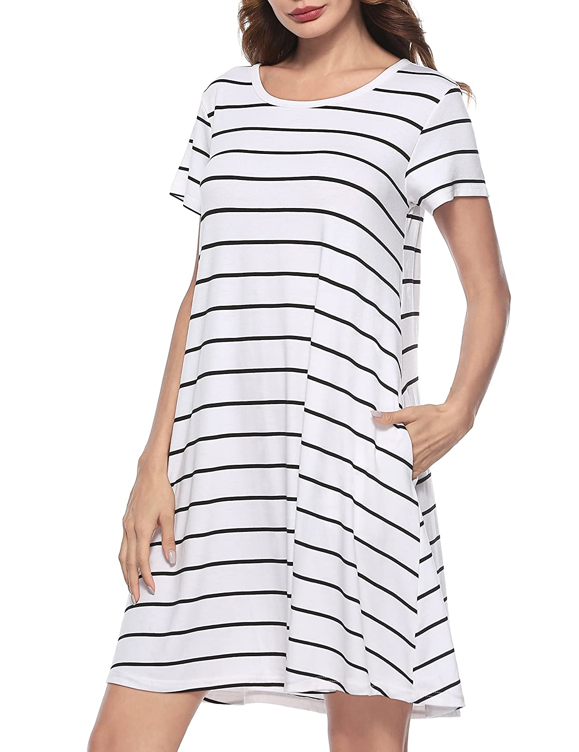 Girl2Queen Summer Womens Short Sleeve Swing Tunic Plaid T-Shirt Dresses with Pockets GQ-stripped-white-xl