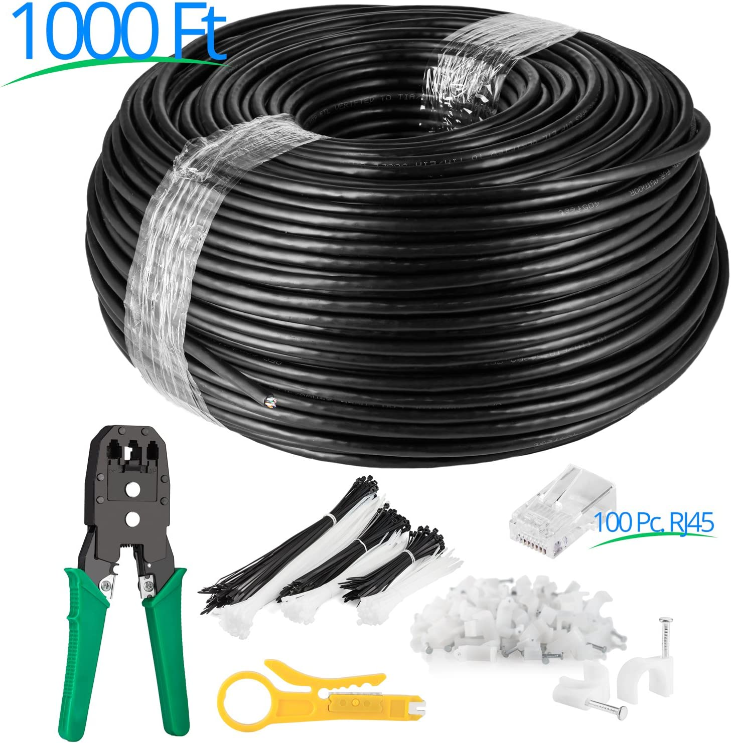 100ft /– Black Zero Lag Pure Copper 550Mhz Waterproof Ethernet Cable Suitable for Direct Burial Installations. Maximm Cat6 Outdoor Cable