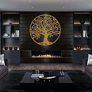 "Metal Wall Art - Gold Tree of Life - Metal Family Tree - Metal Wall Silhouette, Metal Wall Decor, Home Office Decoration Bedroom Living Room Decor (34""W x 35""H / 88x90 cm)"