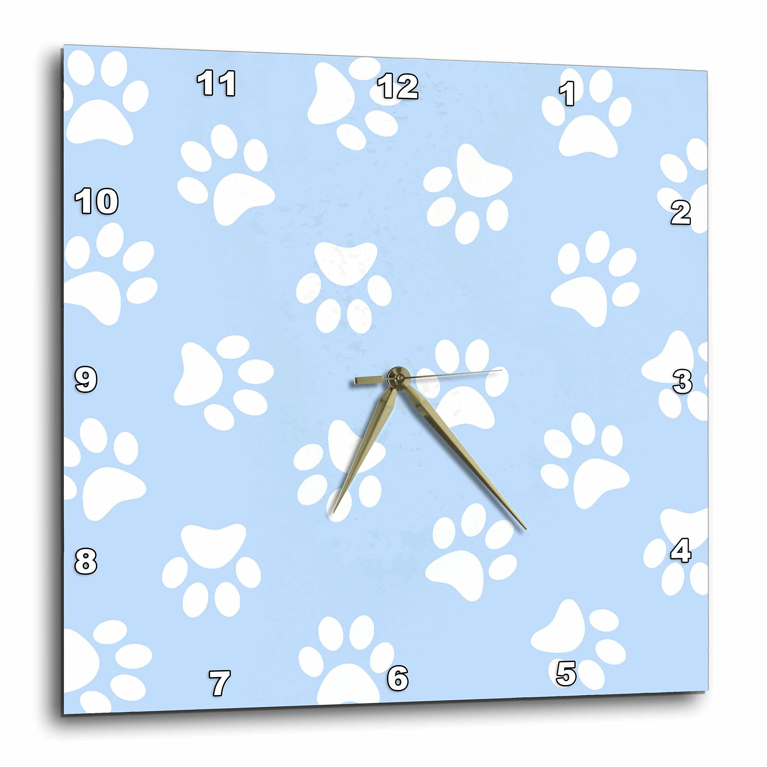3dRose DPP_161523_1 Blue & White Paw Print Pattern Pawprints Cute Cartoon Animal Eg Dog or Cat Footprints Wall Clock, 10 by 10'' by 3dRose