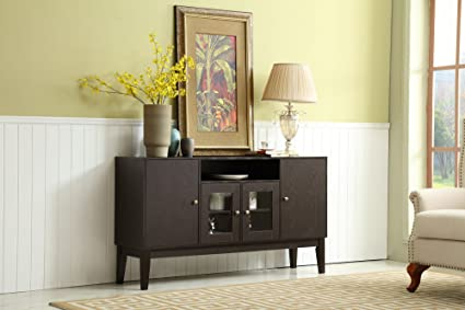 Mixcept 60u0026quot; Modern Solid Wood Sideboard Buffet Table Storage Cabinet  Tall Console With 4 Doors