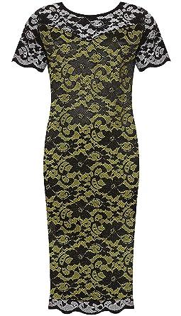 Purplehanger Womens Floral Lace Midi Dress Plus Size Black Lime 18 20