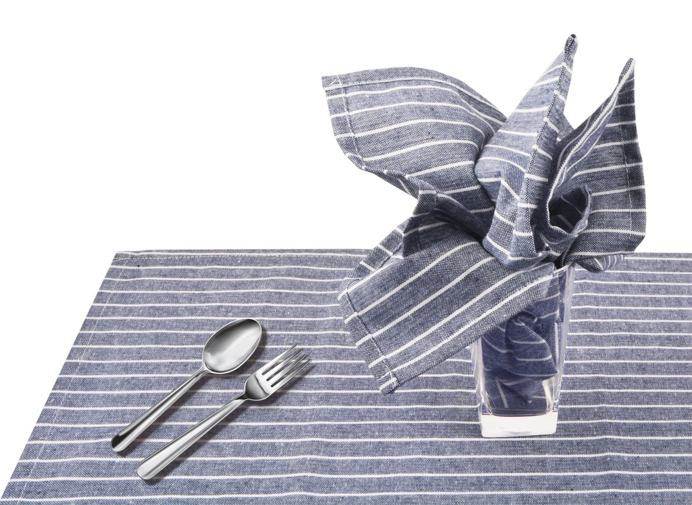 Sinland Linen Napkins Oversized Dinner Napkins Tailored with Mitered Corners and a Generous Hem 20Inch x 20Inch 6 Packs (Grey Blue) by Sinland (Image #6)