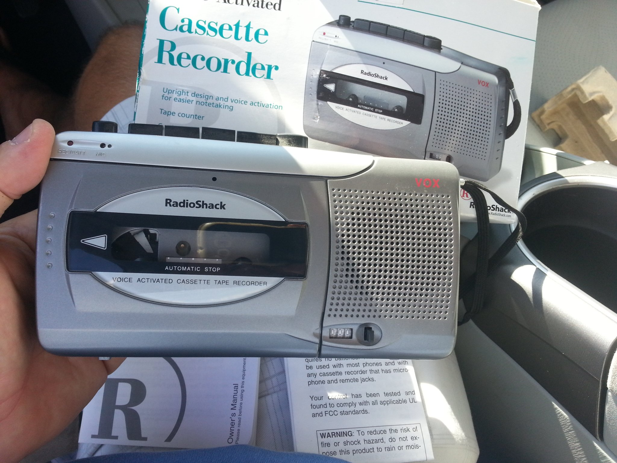 Radio Shack voice-activated Cassette Recorder CTR-123 standard size tapes uaed.
