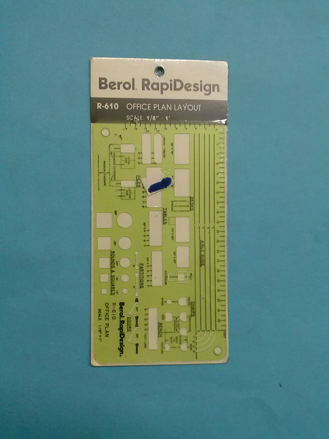 """Office Plan Layout 1//8/"""" Scale R-610 Berol Rapidesign Template"""