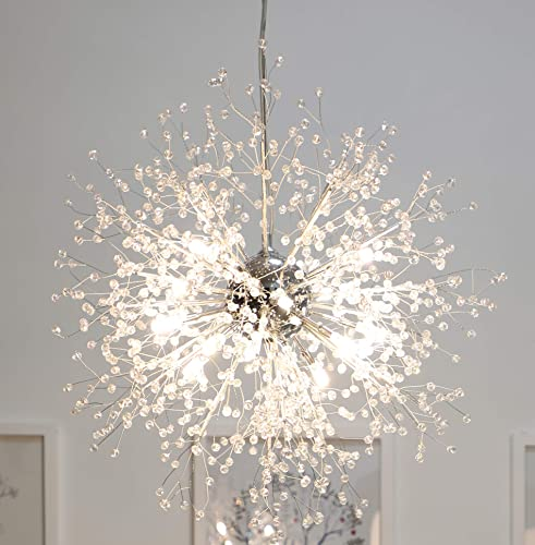 GDNS Chandeliers Firework LED Light Stainless Steel Crystal Pendant Lighting LED Globe Living Room