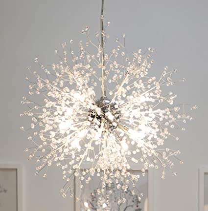 Gdns Chandeliers Firework Led Light Stainless Steel Crystal Pendant