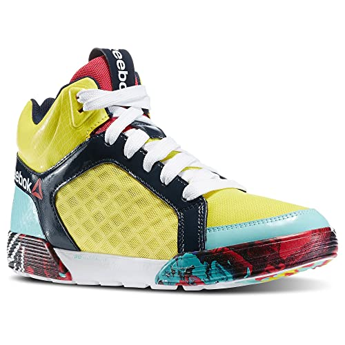 2a80f12fbe42d1 Reebok Women s Dance Urtempo Mid 2.0 Dance Shoe Stinger Yellow Faux Indigo Crystal  Blue