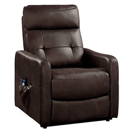 Homelegance 9860 Power Lift Recliner with Massage Heat, Brown