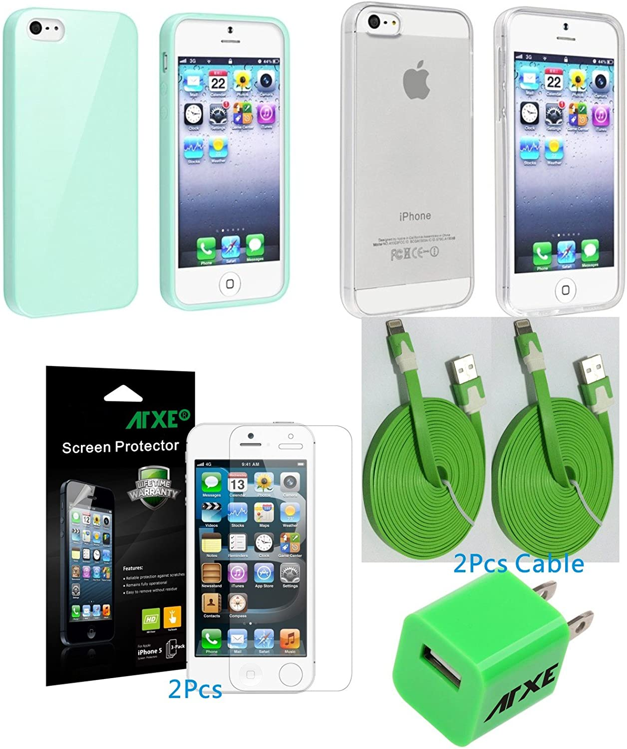 eTECH Collection 5 Pack of Anti-Glare Screen Protectors for Apple iPhone 5/5S/5C AT&T, T-Mobile, Sprint, Verizon