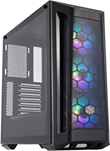 Cooler Master MasterBox MB511 ARGB ATX Mid-Tower with ARGB Lighting System, Three 120mm ARGB Fans, Fine Mesh Front Panel, Mesh Side Intakes, and Tempered Glass.