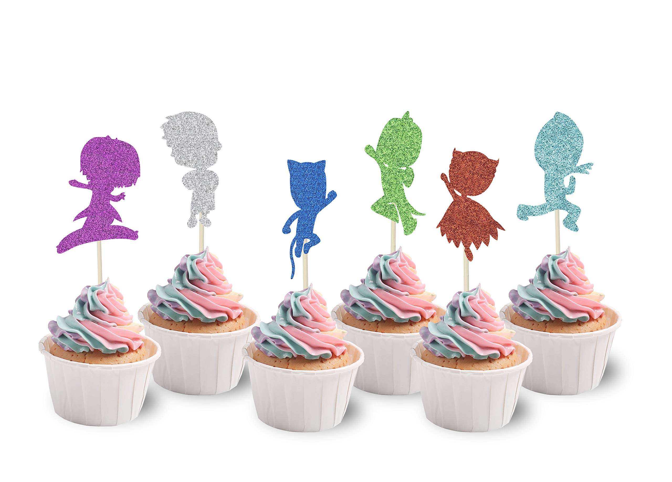 KAPOKKU PJ Glitter Masks Inspired Happy Birthday Cake Topper,Kids Party Supplies Single Sided cupcake Decorations,pack of 24(pj masks cupcake topper)