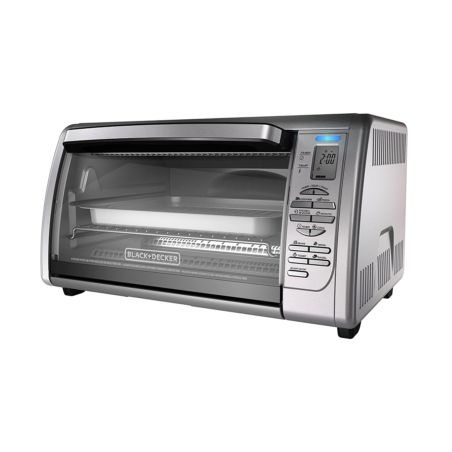 BLACK+DECKER Countertop Convection Toaster Oven, Silver, CTO6335S (Certified Refurbished)