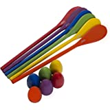 """Egg and Spoon Race Game - 6 Eggs 2"""" & 6 Spoons 12"""" Made of the Finest Wood - Fun Game for Parties, Birthdays etc. - Durable, Lightweight 