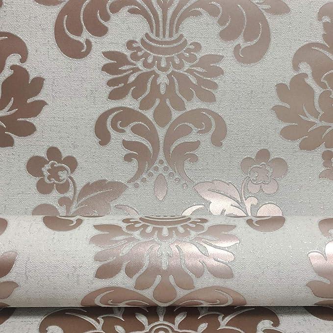FD24108-Solstice jacobéen FLORAL GRIS ROSE Fine Decor papier peint