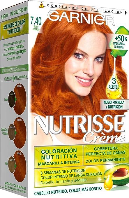 Garnier Nutrisse Coloración, Tono 7.40 Rubio Cobrizo - 40 ml