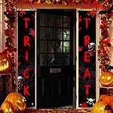Halloween Door Banner Outdoor Trick or Treat Halloween Decoration Porch Sign Hanging Front Door Decor for Home Welcome…