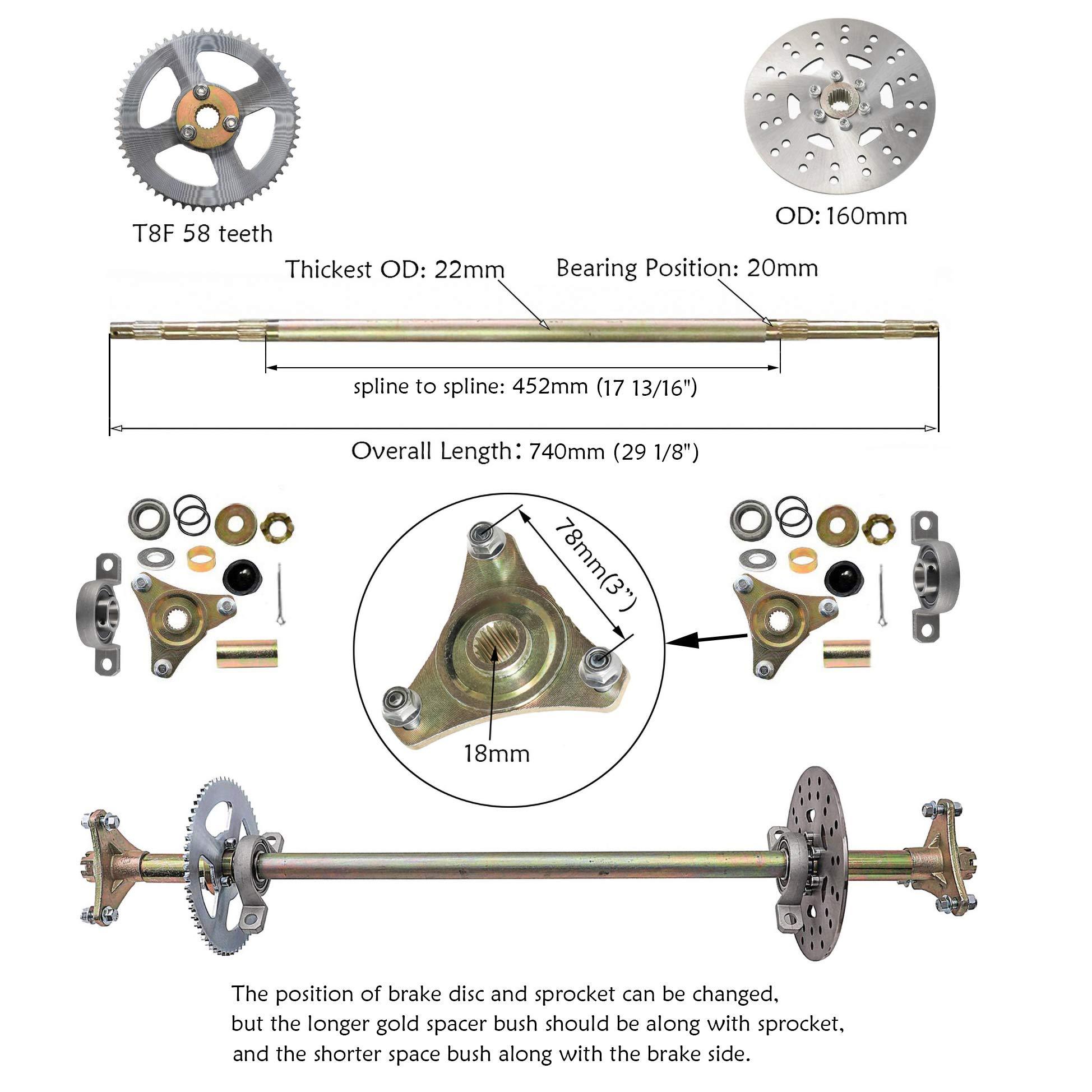 22mm Go Kart Rear Axle kit 740mm w// Hubs Brake disc Sprocket Drift Trike Buggy