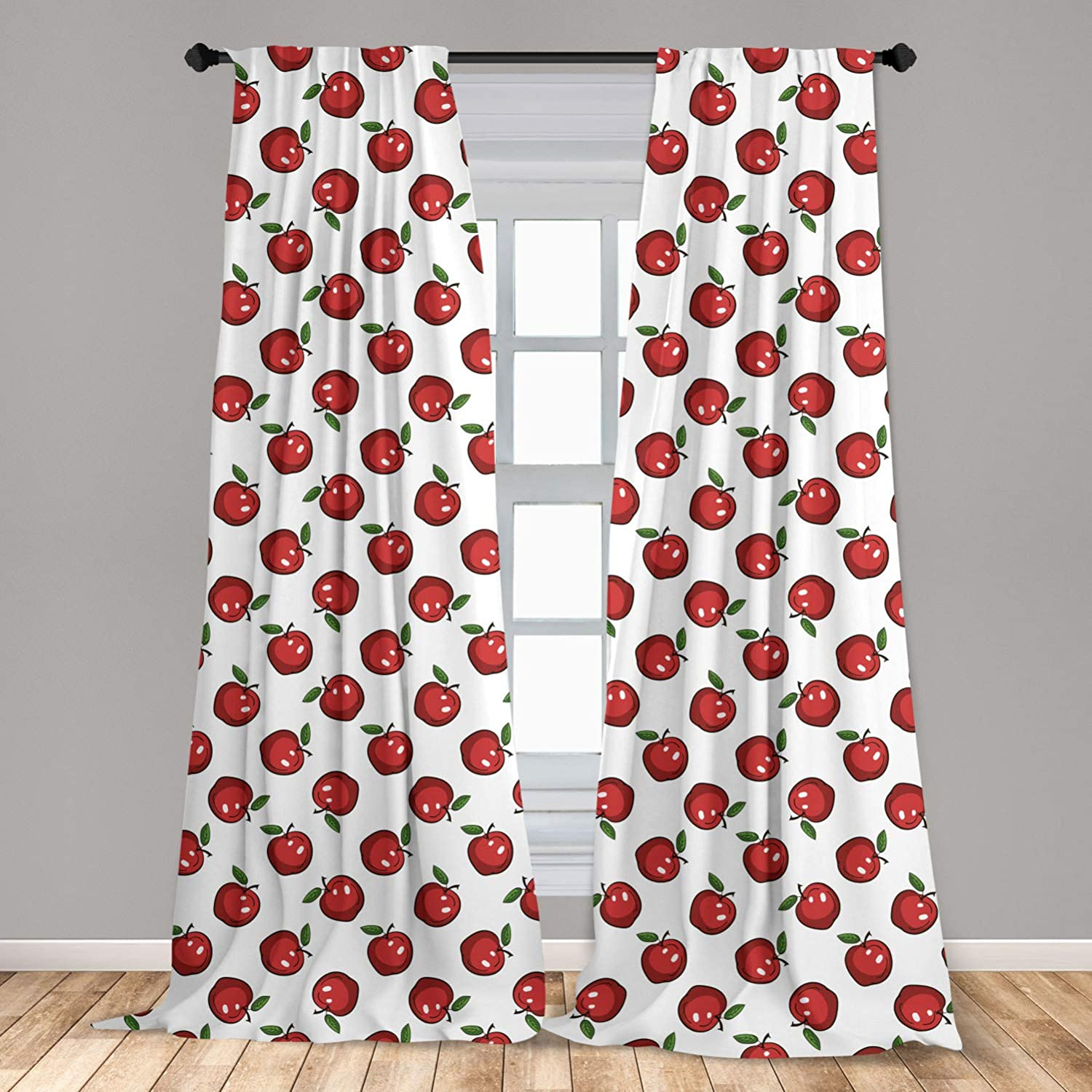 Ambesonne Apple Window Curtain Hand Drawn Cartoon Apples Organic Juicy Delicious Fruit Healthy Eating, Lightweight Decorative Panels Set of 2 with Rod Pocket, 56